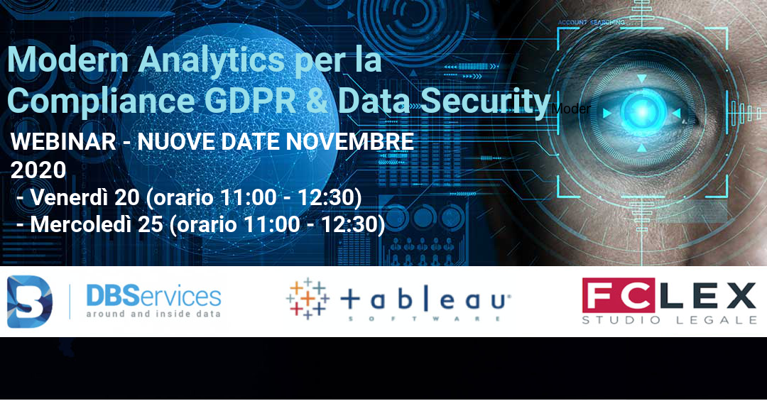 Modern Analytics per la Compliance GDPR & Data Security – 20 e 25 Novembre 2020